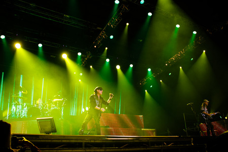 Chelyabinsk Russia - April 22, 2012: Concert of the German rock band Scorpions in the Palace of Sports Yunost Editorial