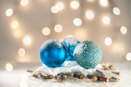 blue christmas: Christmas decoration with blue glass balls Stock Photo
