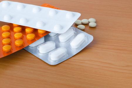 blister: Blister packs of tablets on table