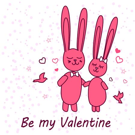 Rabbits in love. Enamored funny rabbits on a date. Greeting card for St Valentines Day Stock Photo