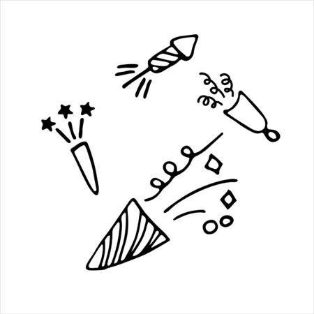 Confetti Popper Cracker Firework Icon. Hand drawn vector illustration