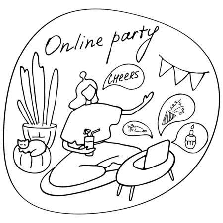 Online party, birthday, virtual meeting friends. Girl sitting in front of laptop with cocktail. Video chat. Vector hand drawn illustration. 版權商用圖片 - 147895201