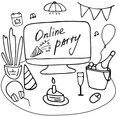 Online birthday party. Self-isolation online house party with wine and sweets. Stay at home. Hand drawn doodle vector illustration.