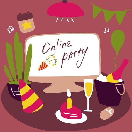 Celebrating at home. Online party. Attributes of the celebration. Stay home, quarantine design concept. Hand drawn flat vector illustration