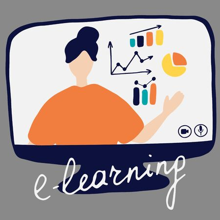 Online teacher explains the charts on monitor. Vector flat illustration for online education, learning, e-learning concept.