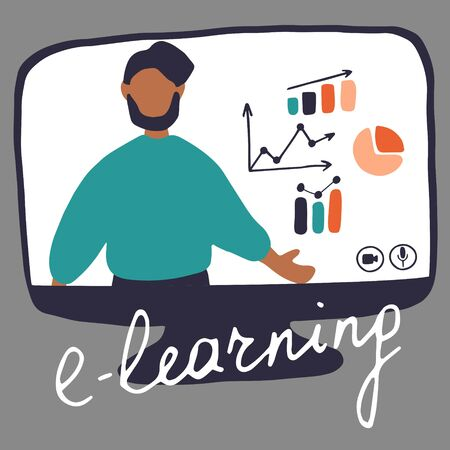 Hand drawn design concept of online education, training and courses, learning, video tutorials. Blogger Live Streaming. Man on monitor. Flat vector illustration