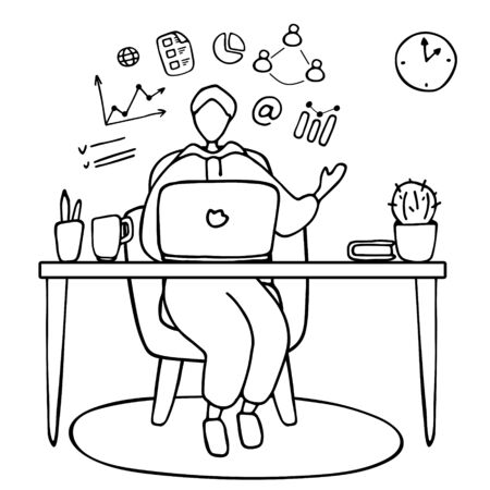 Man teaches online. Blogger is streaming. Guy training online. Online university, video conference, remote work, e-learning concept. Hand drawn vector illustration 向量圖像