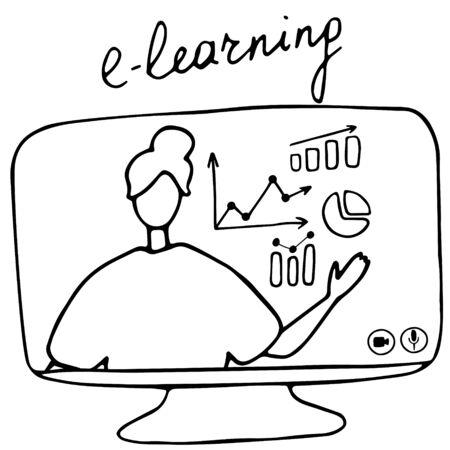 Online teacher explains the charts on monitor. Vector illustration for online education, learning, e-learning concept Illusztráció