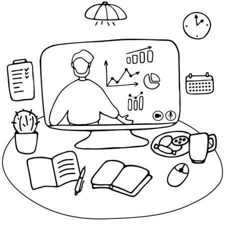 Man character is giving online business lecture. Online courses, digital and distance teaching and learning concept. Workplace for remote work and e-learning. Hand drawn vector illustration