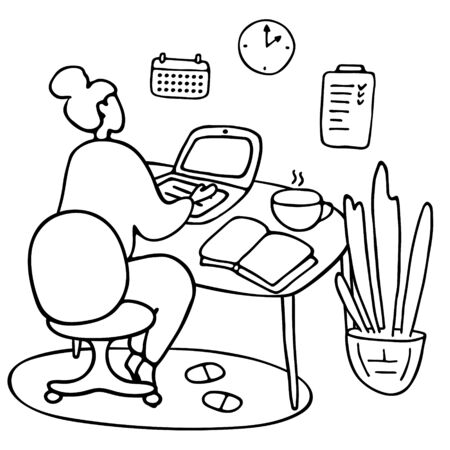 Girl sitting at laptop. Young female character studying online or working remotely during the quarantine period. E-learning education or freelance work concept. Hand drawn vector illustration 向量圖像