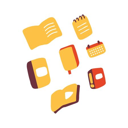 Notebooks, books, journal, calendar doodle icons. Stationery icon set. Hand drawn vector illustration Illustration