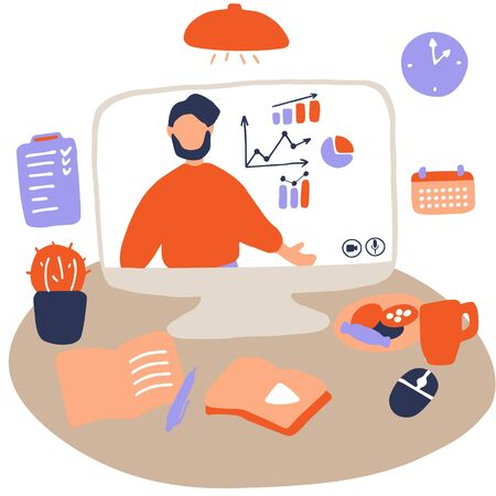 Man character is giving online business lecture. Online courses, digital and distance teaching and learning concept. Workplace for remote work and e-learning. Flat vector illustration 向量圖像