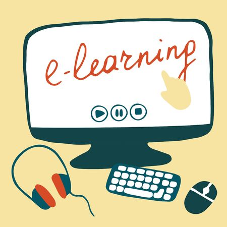 E-learning concept. Workplace for online education and remote work. Hand drawn flat vector illustration