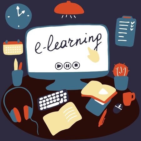 Workplace for online learning and remote work. Desktop with stationery and home items. E-learning, online education, stay home concept. Flat vector illustration