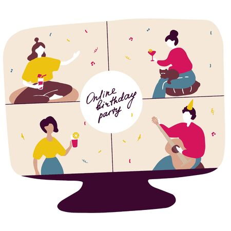 Family celebrates birthday online. Group of friends met in web mobile application to celebrate event. Online drinking party. Hand drawn flat vector graphic. Çizim