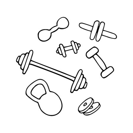 Set of gym equipment. Dumbbell line icon. Hand drawn vector illustration.