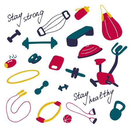 Simple icons of sports goods and accessories. Fitness at home, home workout. Flat vector illustration.