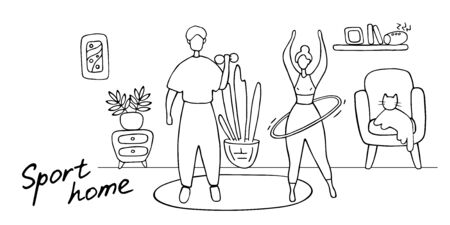 Man and woman working out in home. Family couple training at home. Husband and wife doing sports. Doodle vector illustration. 向量圖像