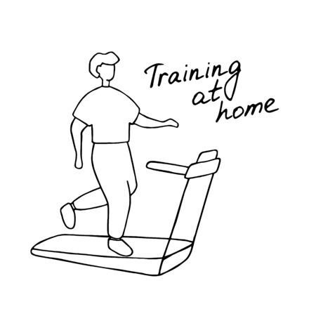 Young man running on treadmill. Sport training at home. Doodle vector graphic. Vettoriali