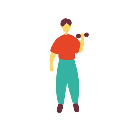 Fitness man doing exercise. Healthy lifestyle. Doodle flat vector illustration. Ilustrace