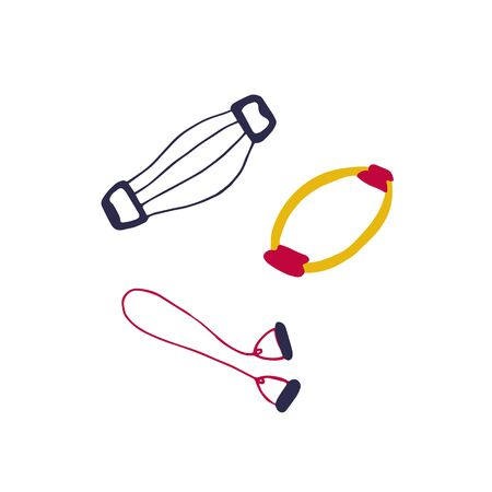 Training expander, tubular expander, isotonic ring. Sports training equipment. Hand drawn vector graphic.