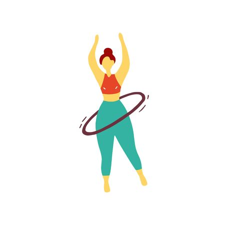 Sport girl twists hoop. Athlete is training before the competition. Gymnast doing exercises. Flat hand drawn vector graphic. Vettoriali