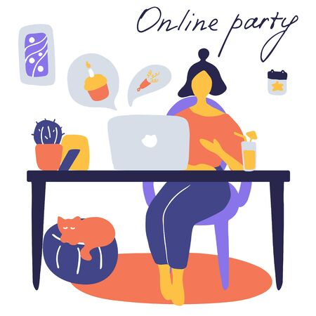 Online party, birthday, virtual meeting friends. Girl sitting in front of laptop with cocktail. Video chat. Vector flat illustration. 向量圖像