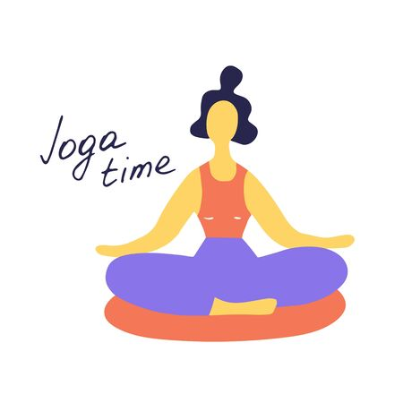 Woman doing yoga. Lotus pose. Hand drawn flat vector illustration.