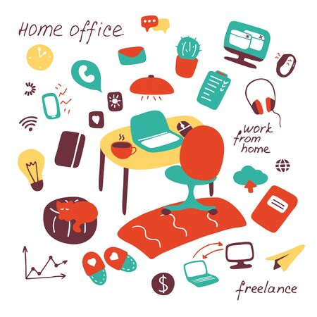Work and study at home. Freelance, home office, home from home concept. Workplace for remote work. Hand drawn set of flat elements. Vector illustration. 일러스트