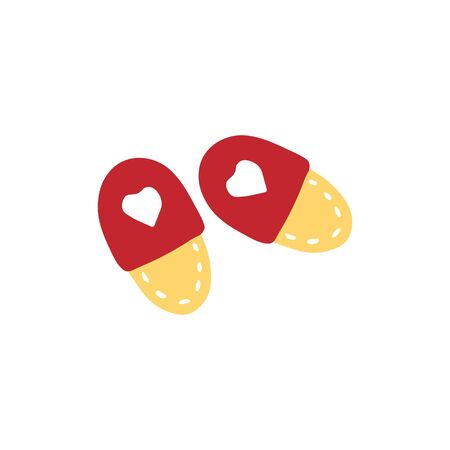 Hand drawn home slippers. Doodle vector illustration.