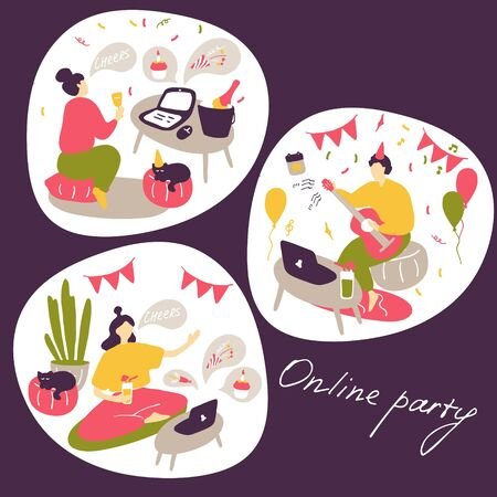 Online party concept. People communicate online, celebrate holidays, make dates. Modern lifestyle, life on Internet. Flat vector illustration.