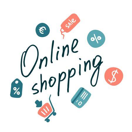 Online shopping inscription. E-store flat icons. Vector doodle design
