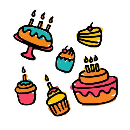 Hand-drawn icons of sweets. Pie, cake, cupcake. Vector Vettoriali