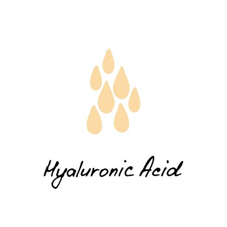 Hyaluronic acid hand drawn icon. Water drop. Korean beauty. Cosmetic ingredient. Vector illustration.