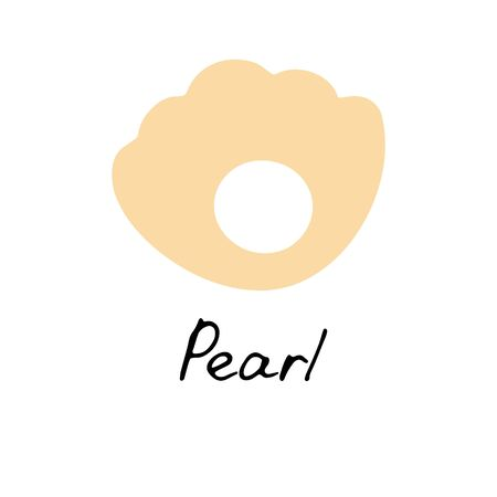 Pearl icon. Hand drawn shell sign. Simple icon for web and print. Vector illustration.