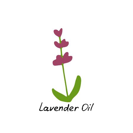 Lavender essential oil logo. Aromatherapy logo. Hand drawn Icon with hand written inscription. Aromatherapy, perfumery, cosmetics, spa logo