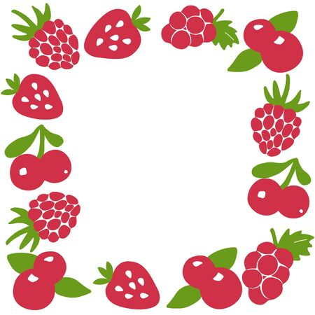Hand drawn berry frame. Berry icon and strawberry inscription for print and web. Vector illustration