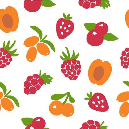 Hand drawn berry seamless pattern. Berry icon and strawberry inscription for print and web. Vector illustration Vektoros illusztráció