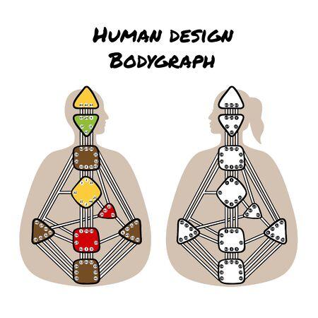 Human design bodygraph chart design. Vector isolated illustration. Nine energy centers