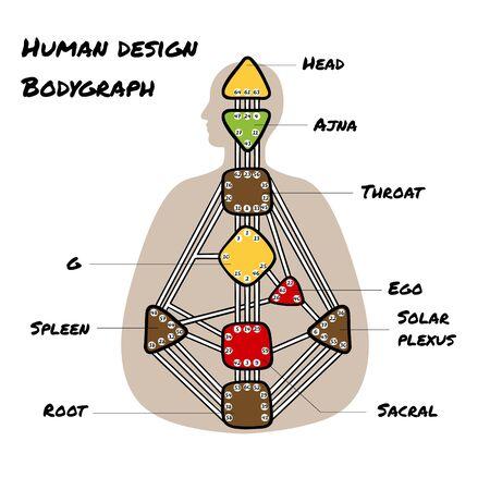 Nine energy centers. Human design chart. Head, ajna, throat, ego, solar plexus, sacral root spleen g center