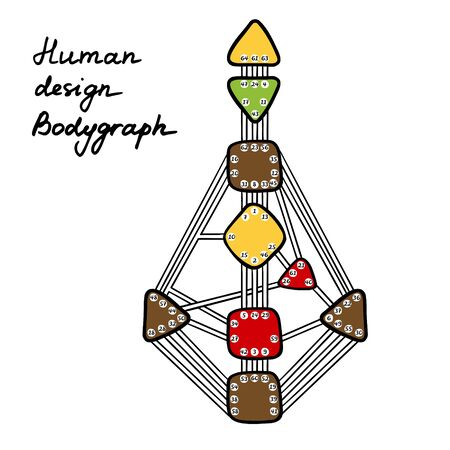 Human Design BodyGraph. Nine colored energy centers. Vector illustration