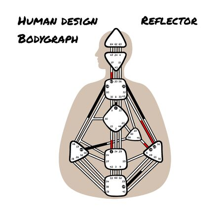 Reflector. Human Design BodyGraph. Nine colored energy centers. Hand drawn graphic