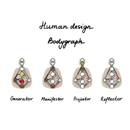 Generator, Projector, Manifestor, Reflector. Human Design BodyGraph. Nine colored energy centers Vector illustration