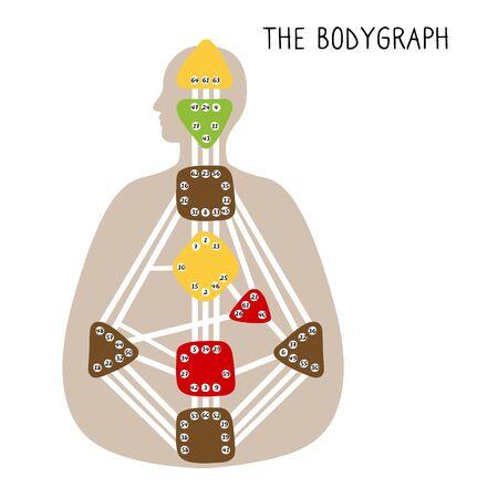 Human Design BodyGraph. Nine colored energy centers. Hand drawn graphic Stock Illustratie