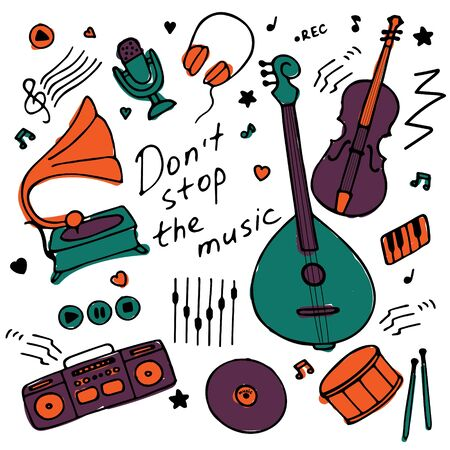 Collection of hand-drawn icons. Musical theme. Icons of musical instruments. Hand-written inscription Don t stop the music. Vector illustration