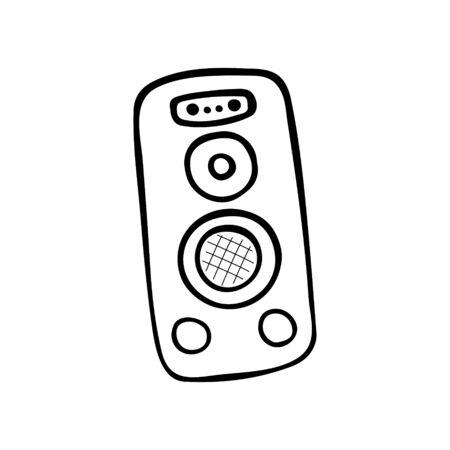 Single hand-drawn Studio Speaker icon. Musical symbol. Vector illustration
