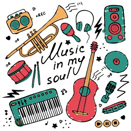 Collection of hand-drawn icons. Musical theme. Icons of musical instruments. Hand-written inscription Music in my soul. Vector graphics