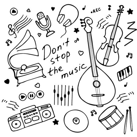 Music instruments icon set for print and digital. Hand drawn graphics. Hand-written inscription Don t stop the music. Vector illustration