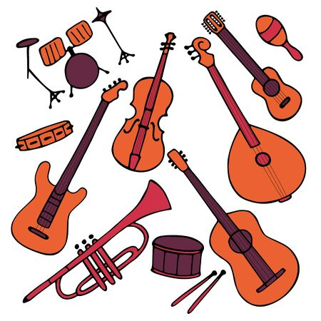 Hand-drawn musical instruments set. Doodle elements guitar, electric guitar, ukulele, trumpet, maracas, domra, violin Vector illustration  イラスト・ベクター素材