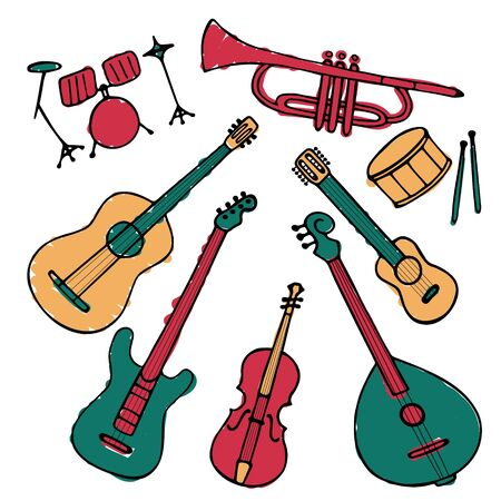 A set of hand-drawn musical instruments. Doodle elements of guitar, electric guitar, ukulele, trumpet, maracas, domra, violin. Vector illustration